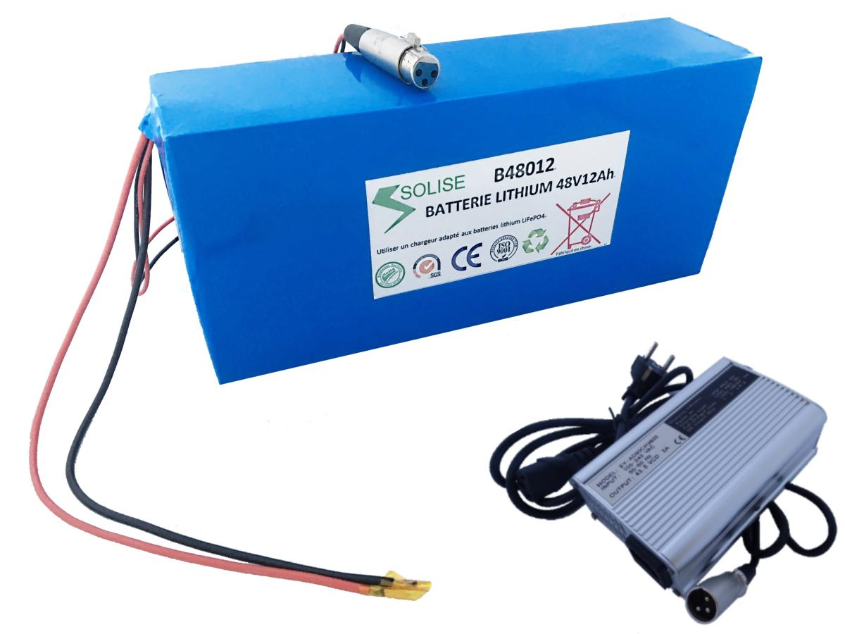 kit Batterie LITHIUM LIFEPO4 48V 12Ah + chargeur 2A trottinette 1000W