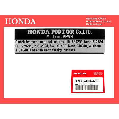 PLAQUE IDENTIFICATION HONDA DAX ST50